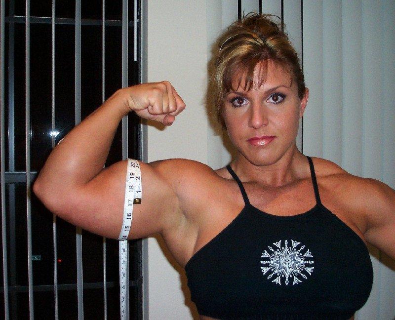 Mature lady bicep flex